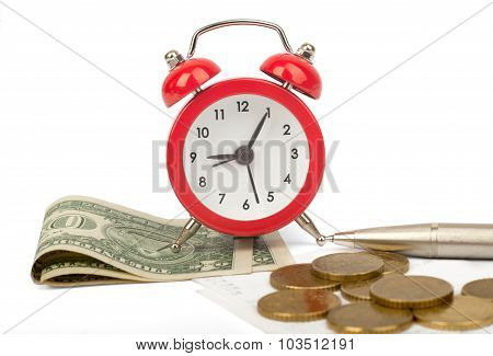 Alarm clock with bills and dollars