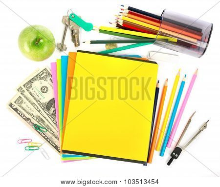 Copybooks with dollars and office stuff