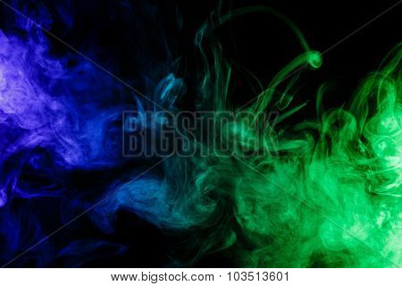 Abstract Blue And Green Smoke Hookah On A Black Background.