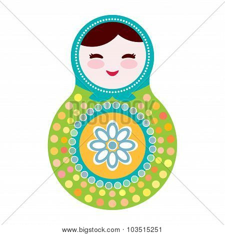 Russian dolls matryoshka on white background, green and blue colors. Vector