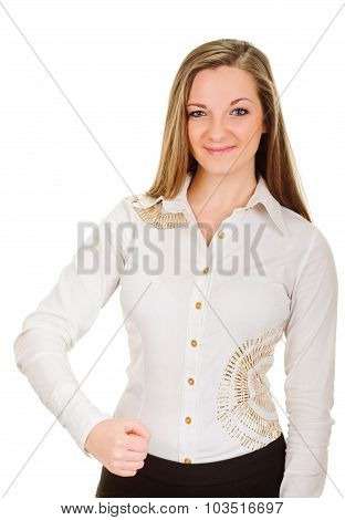 joyous young woman clenched fist arm