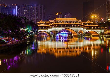 Night View Of Anshun Bridge In Chengdu