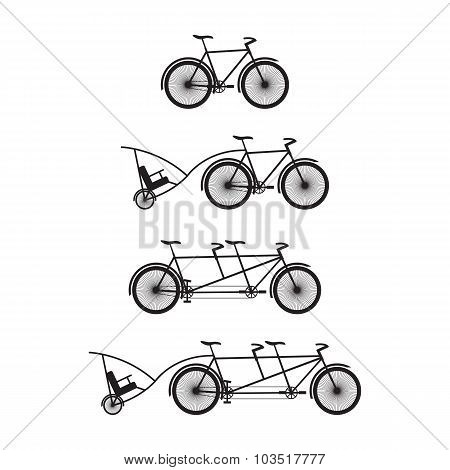 Silhouettes Of Bicycles And Tandem-bicycles.