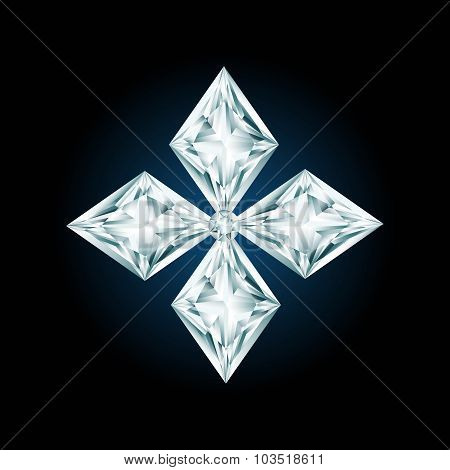 Diamond Cross Sign On Black Background