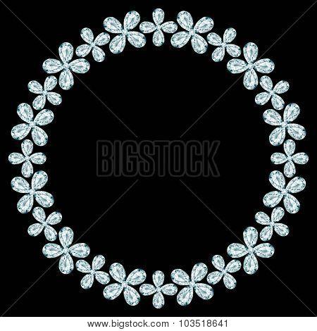 Diamond Round Frame On Black Background