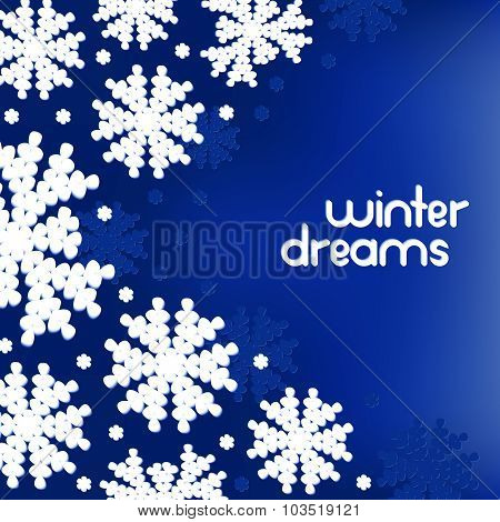 Winter background with snowflakes and place for your text. Vector illustration.