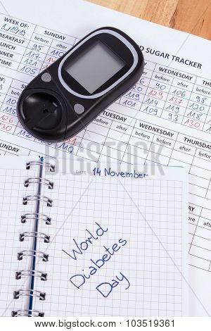 World Diabetes Day In Notebook, Results Of Measurement Of Sugar