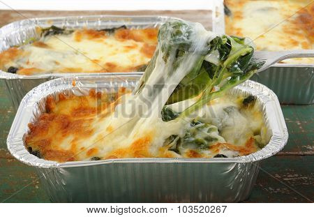Baked Spinach With Cheese In Aluminium Foil Tray