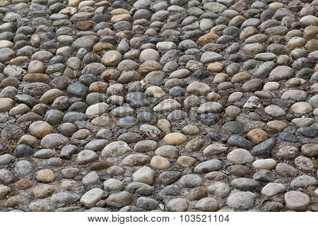 Floor Walkway Made Of Small Pebbles