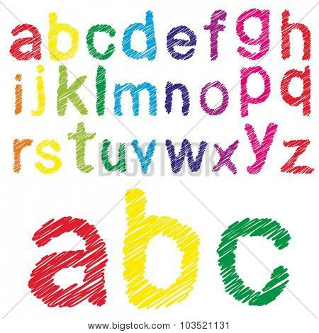 Vector concept or conceptual set or collection of colorful handwritten, sketch or scribble fonts isolated on white background