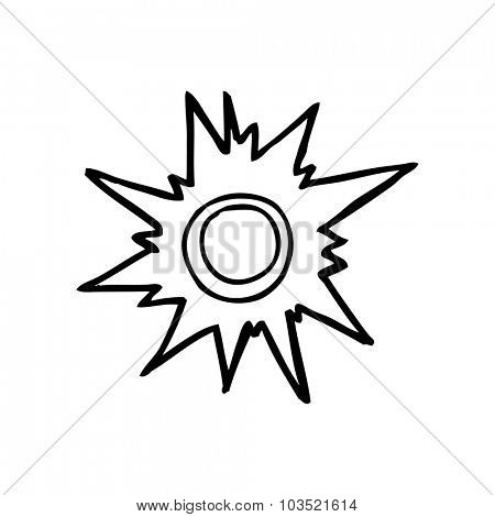 simple black and white line drawing cartoon  push button