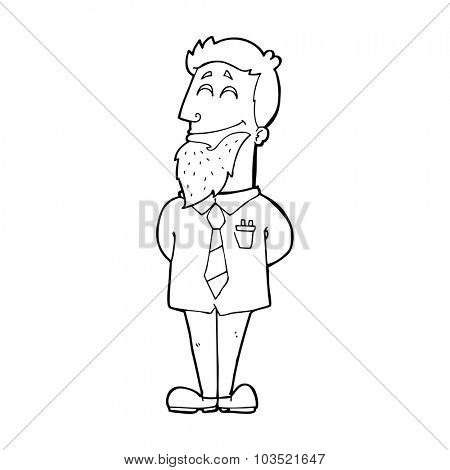 simple black and white line drawing cartoon  psychologist