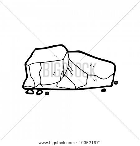 simple black and white line drawing cartoon  rocks