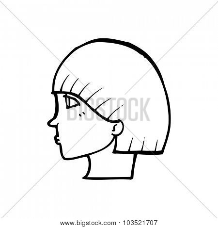 simple black and white line drawing cartoon  side profile face