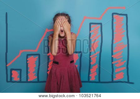 a girl of seven European appearance brunette sad thing keeps fin