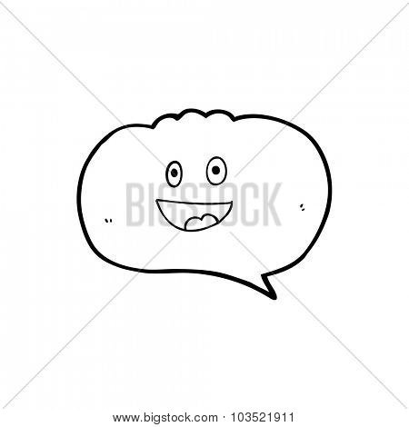 cute simple black and white line drawing cartoon  speech balloon