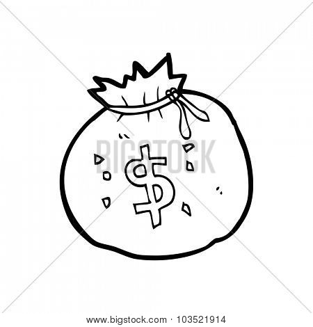 simple black and white line drawing cartoon  bag of money