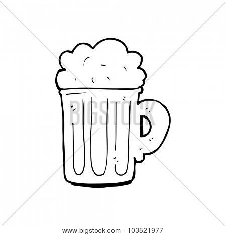 simple black and white line drawing cartoon  pint of beer