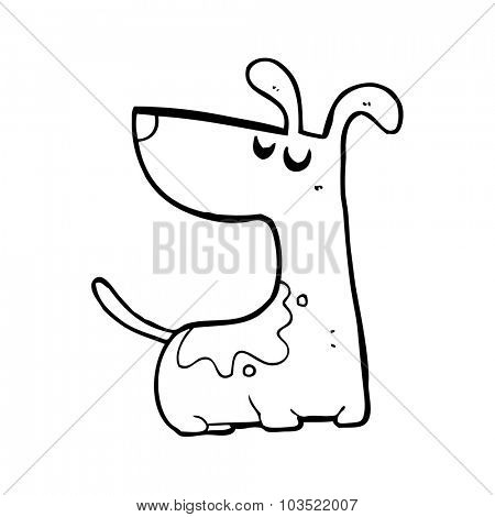 simple black and white line drawing cartoon  happy dog