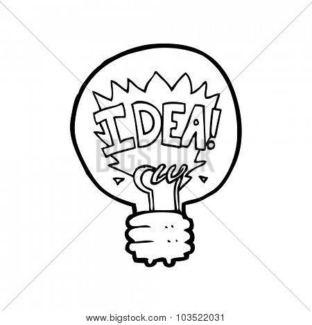 simple black and white line drawing cartoon  idea light bulb symbol