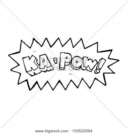 simple black and white line drawing cartoon  ka pow