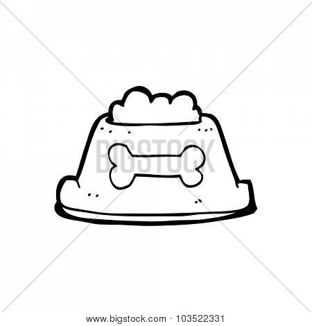 simple black and white line drawing cartoon  dog food in bowl
