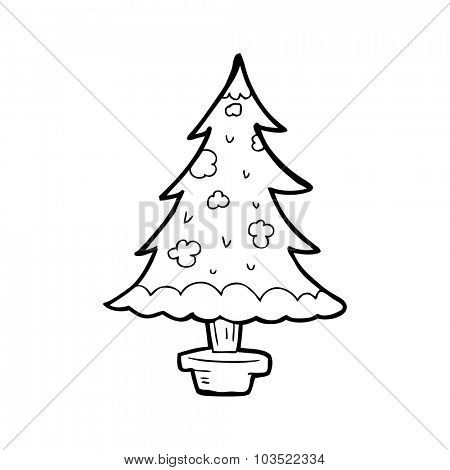simple black and white line drawing cartoon  christmas tree