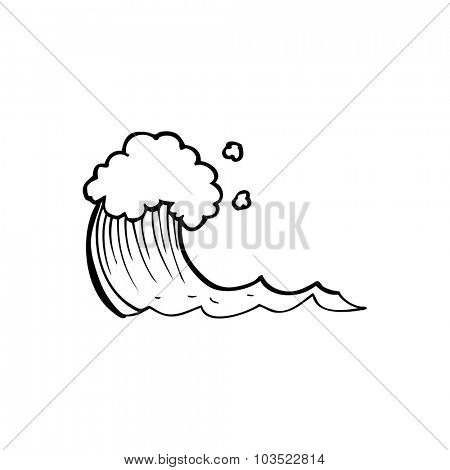 simple black and white line drawing cartoon  wave