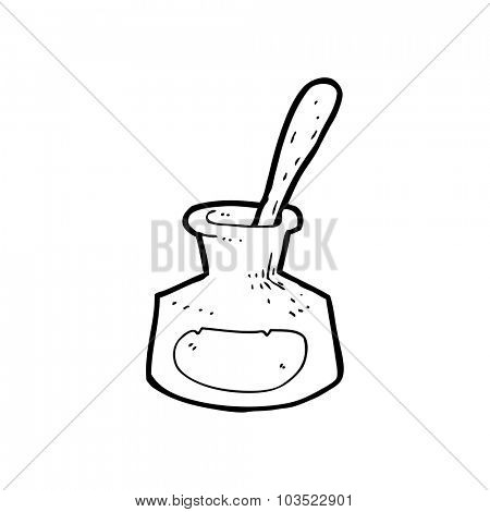 simple black and white line drawing cartoon  ink pot