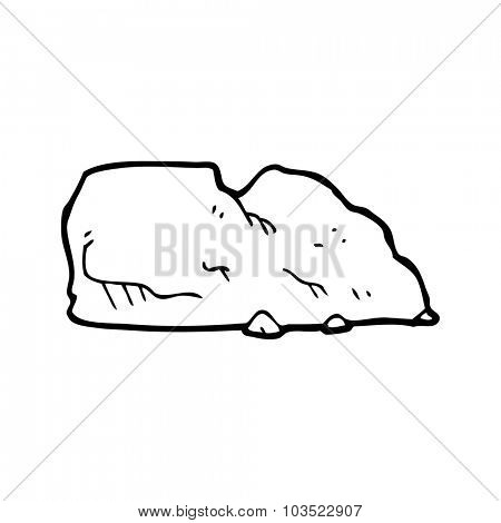 simple black and white line drawing cartoon  rock
