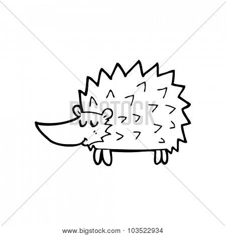 simple black and white line drawing cartoon  hedgehog