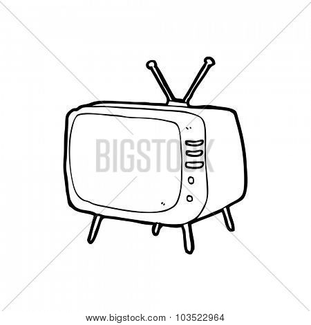 simple black and white line drawing cartoon  television