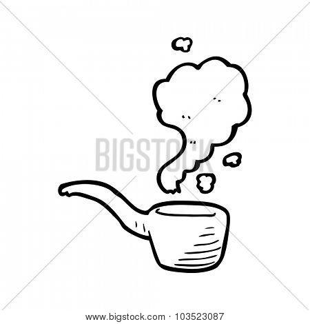 simple black and white line drawing cartoon  pipe smoking