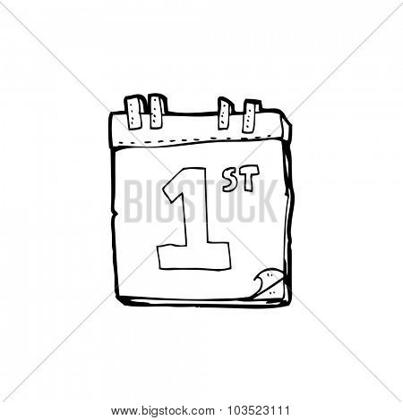 simple black and white line drawing cartoon  calendar