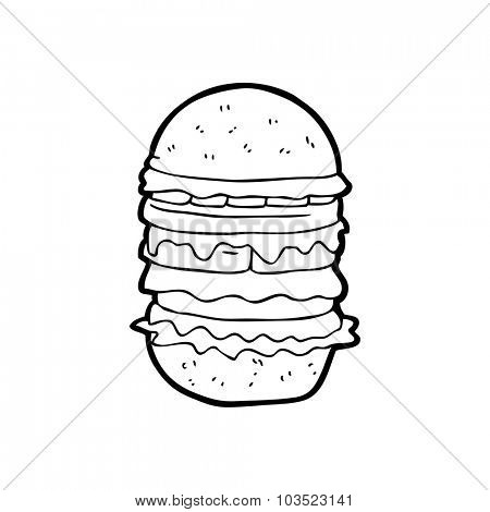 simple black and white line drawing cartoon  amazing burger
