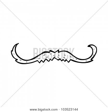 simple black and white line drawing cartoon  mustache