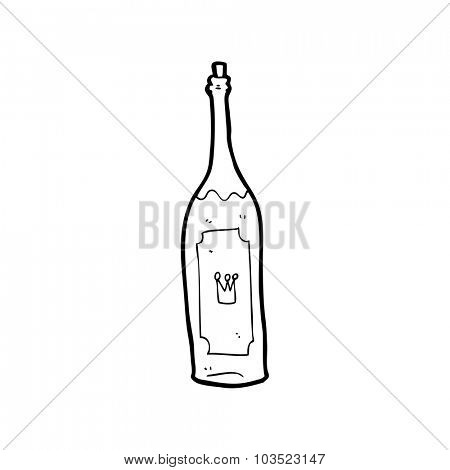 simple black and white line drawing cartoon  wine bottle