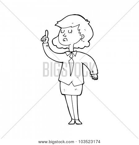 simple black and white line drawing cartoon  woman making point