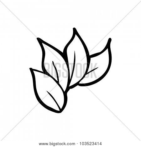simple black and white line drawing cartoon  leaves