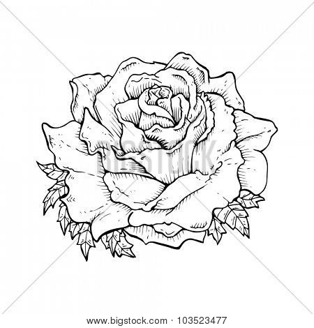 simple black and white line drawing cartoon  rose
