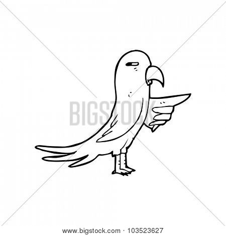simple black and white line drawing cartoon  parrot