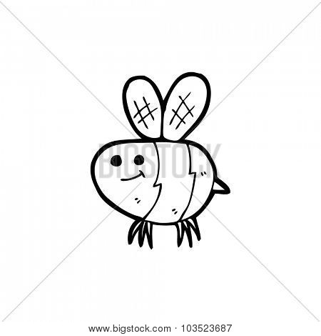 simple black and white line drawing cartoon  bee