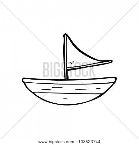 simple black and white line drawing cartoon  boat