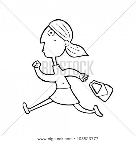 simple black and white line drawing cartoon  running woman stressed