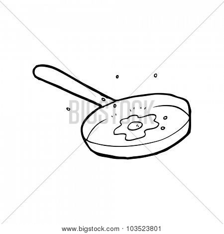 simple black and white line drawing cartoon  fried egg