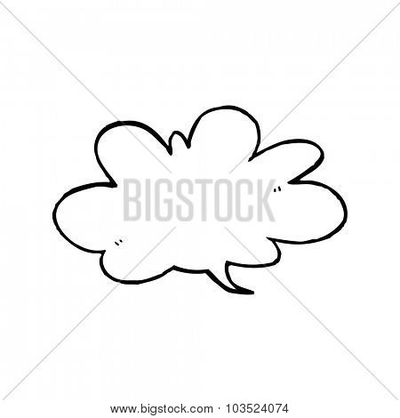 simple black and white line drawing cartoon  speech bubble
