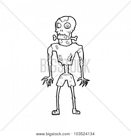 simple black and white line drawing cartoon  zombie