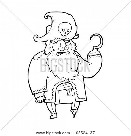 simple black and white line drawing cartoon  pirate