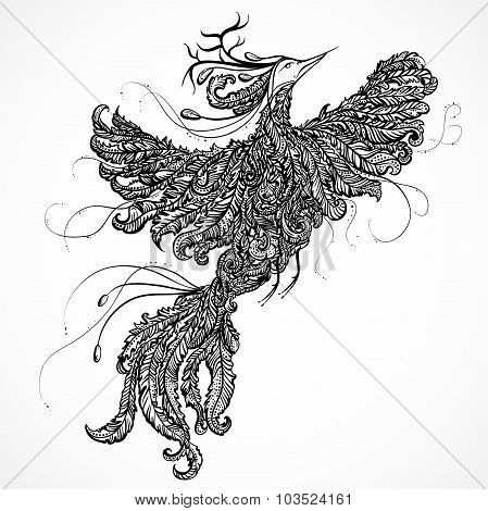 Decorative paradise bird ith antlers. Hand drawn outline doodle illustration. Ornate bird decorated