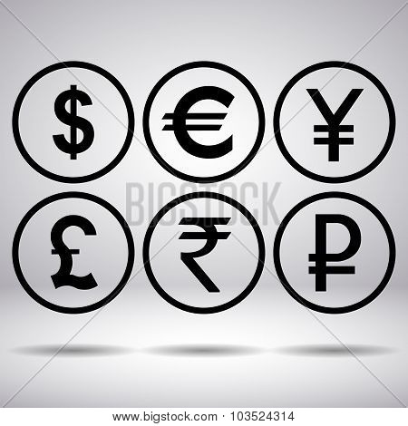 World Currency Signs In Circle